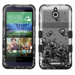 Funda Protector Triple Layer HTC One Desire 510 512  Plateado / Negro Flores