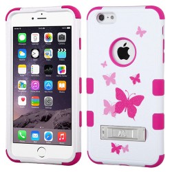 Funda Protector Apple Iphone 6 Plus Blanco Mariposas Rosas Triple Layer