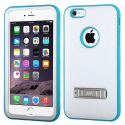 Funda Protector  Iphone 6 Plus Blanco Aqua con Pie Antiderrapante