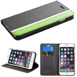 Funda Cartera  Iphone 6 Plus Negro Franja Verde