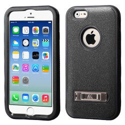 Funda Protector  Iphone 6 Mixto Negro con Pie Triple Layer