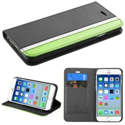 Funda Cartera  Iphone 6 Negro Franja Verde