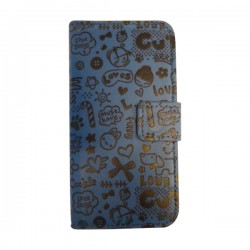 Funda Cartera Decorada Iphone 5 Azul
