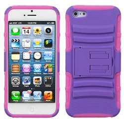 Funda Protector Morado con Rosa Mixto con Pie Iphone 5