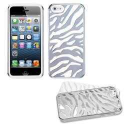 Funda Protector Iphone 5 Mixto Metalico Zebra Blanco