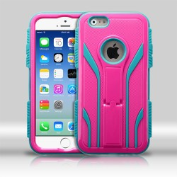 Funda Iphone 6 Uso Rudo Triple Layer Robot Rosa / Aqua