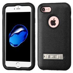 Funda Protector Triple Layer Uso Rudo  Iphone 7 Negro c/pie metalico
