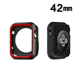 Protector Apple 42 mm Watch Serie 3 Silicon Rojo Negro