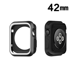 Protector Apple 42 mm Watch Serie 3 Silicon Blanco Negro