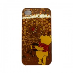 Funda Protector Mobo iPhone 4 Pooh Cafe con Brillitos