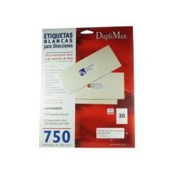 Etiquetas blancas Duplimax  2.5x2.7 cm 750 pzas