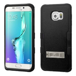 Funda Protector Samsung Galaxy S6 edge plus Negro Triple layer c/pie metalico
