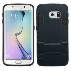 Funda Protector Mixto Galaxy S6 Edge Azul Oscuro C/pie