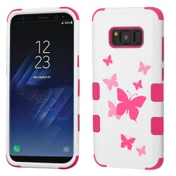 Funda S8 Plus Blanco Mariposas Uso Rudo Triple Layer