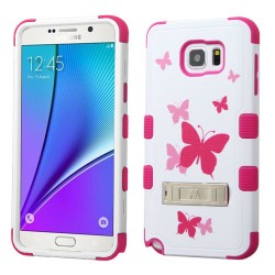 Funda Protector Samsung Galaxy Note 5 Triple Layer Blanco / Rosa Mariposas c/pie metalic