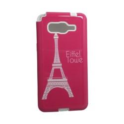 Funda Protector Samsung A5 TPU Eiffel Tower Rosa / Blanco