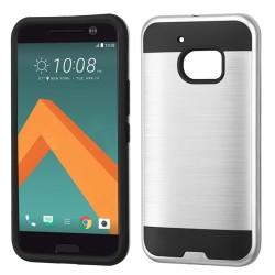 Funda Protector Mixto HTC 10 Plata Metalico